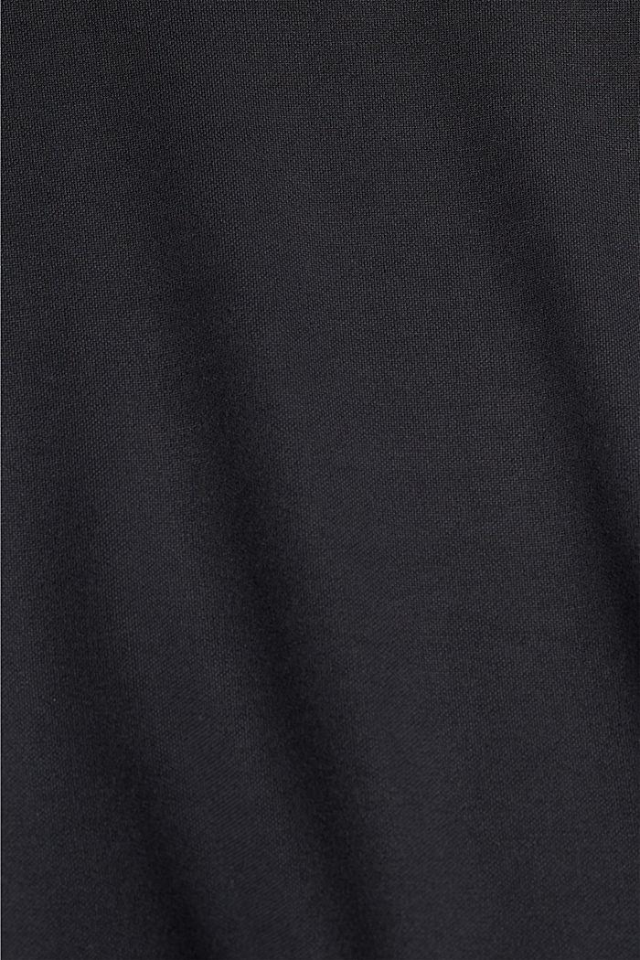 Fließendes Jerseykleid mit Bindegürtel, BLACK, detail image number 4