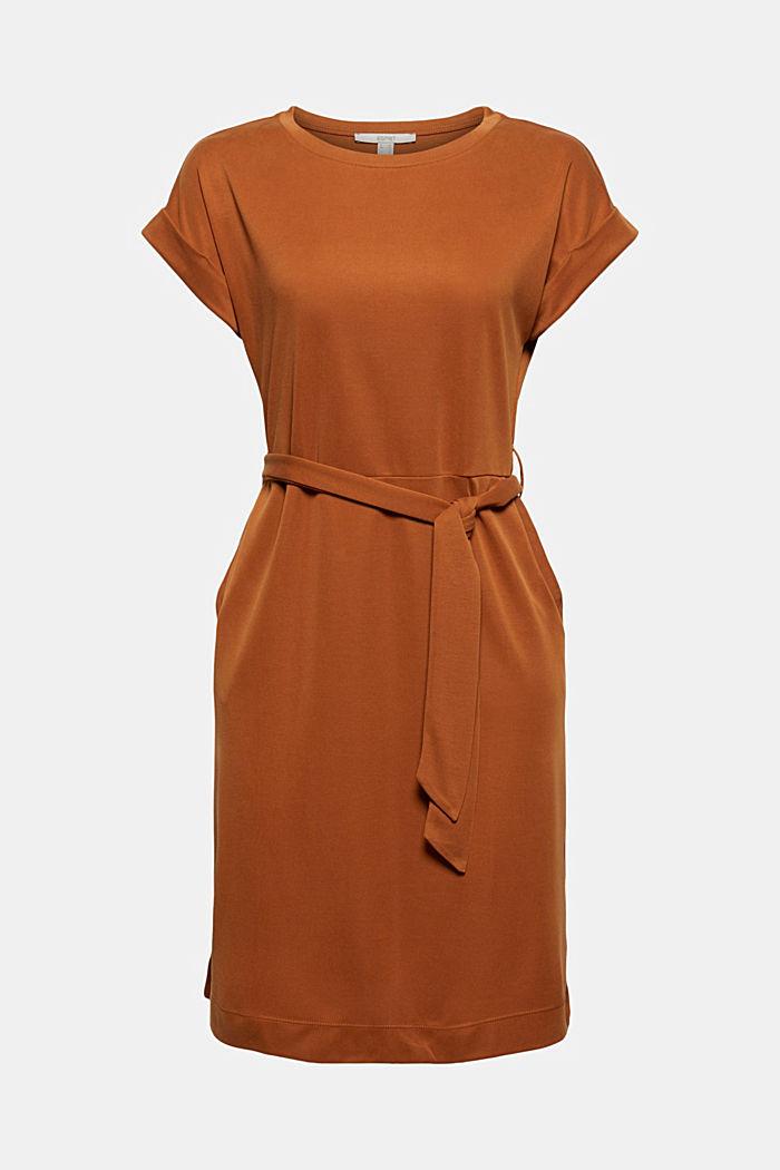 Fließendes Jerseykleid mit Bindegürtel, CARAMEL, detail image number 5