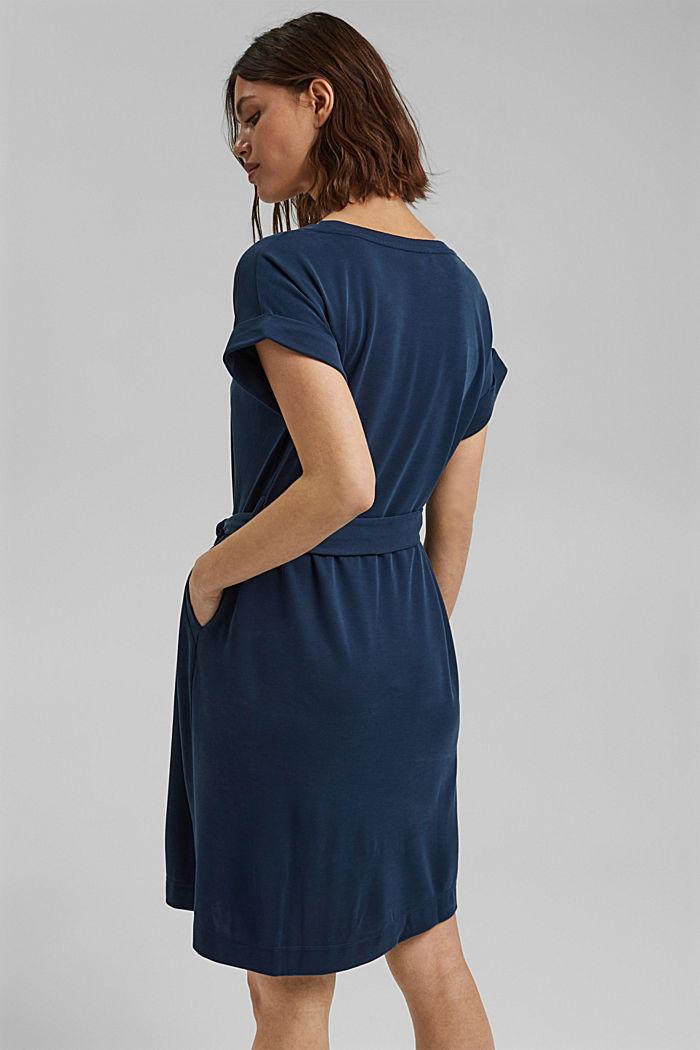 Fließendes Jerseykleid mit Bindegürtel, NAVY, detail image number 2