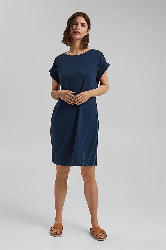 Fließendes Jerseykleid mit Bindegürtel, NAVY, detail image number 1