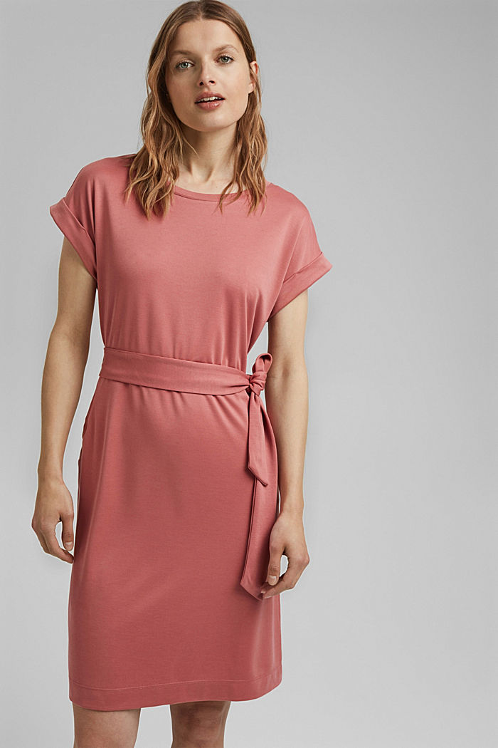 Flowy jersey dress with tie-around belt, BLUSH, detail image number 0