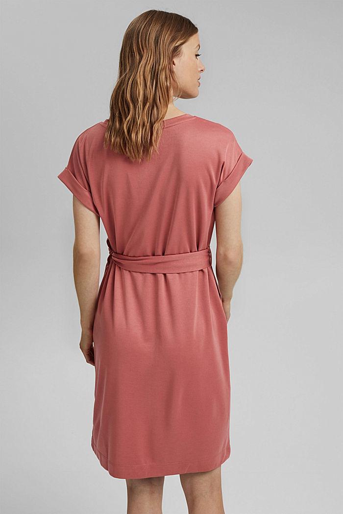 Flowy jersey dress with tie-around belt, BLUSH, detail image number 2