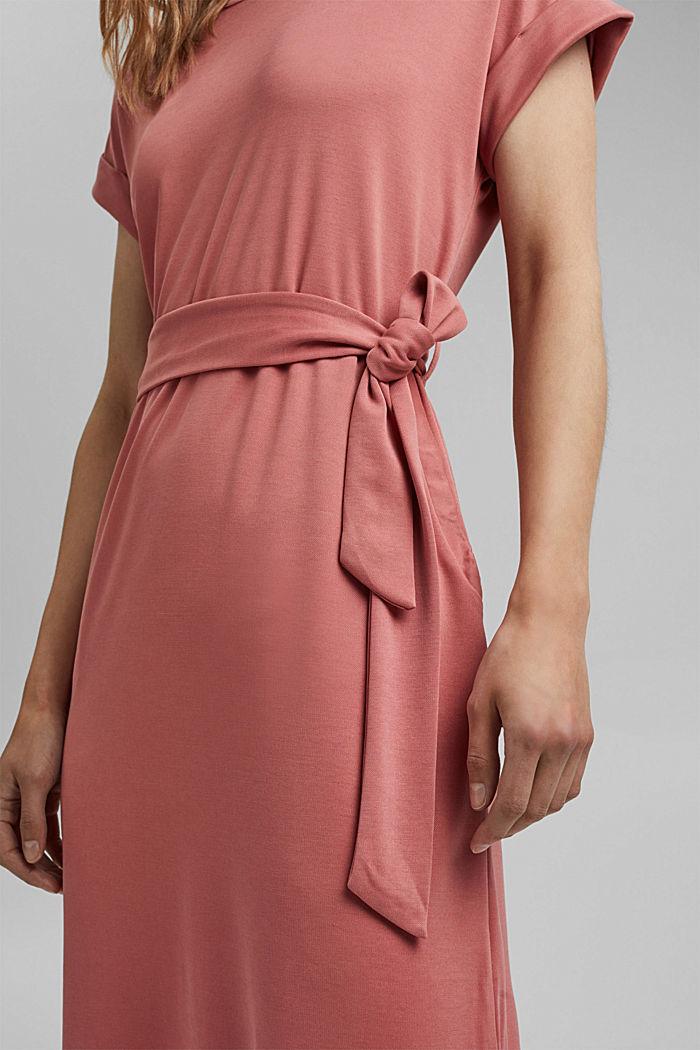 Flowy jersey dress with tie-around belt, BLUSH, detail image number 3