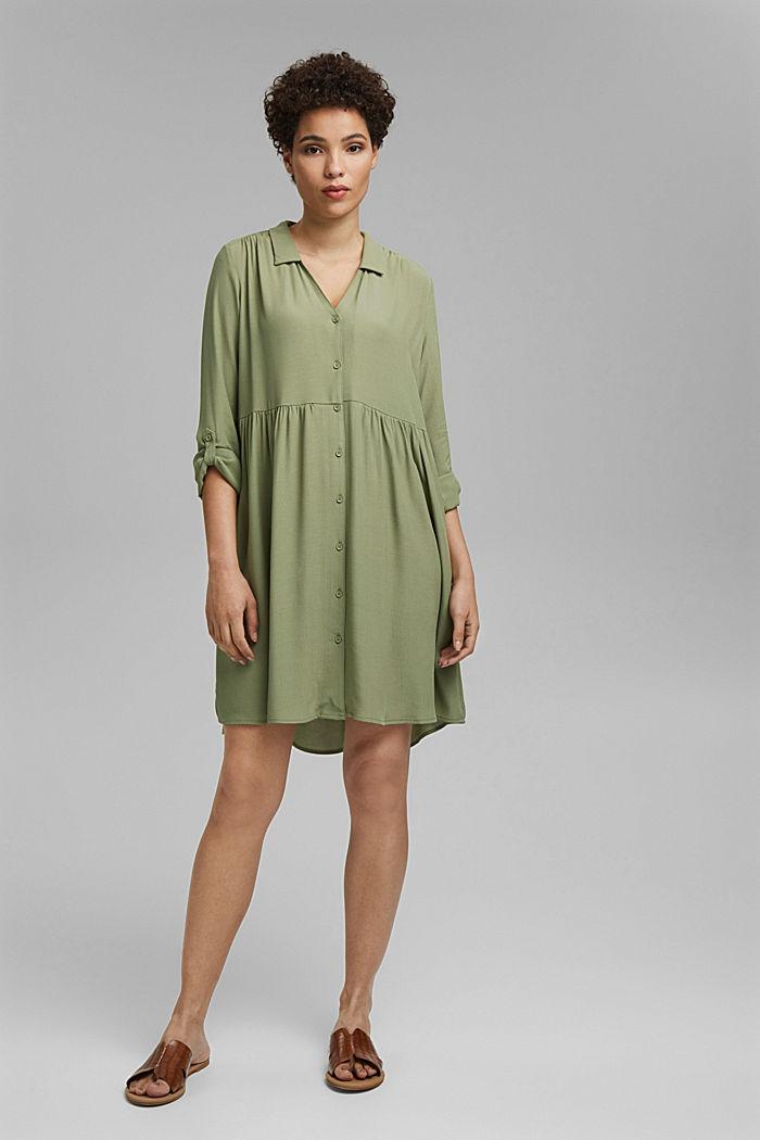 Wide, figure-slimming shirt dress, LIGHT KHAKI, detail image number 1