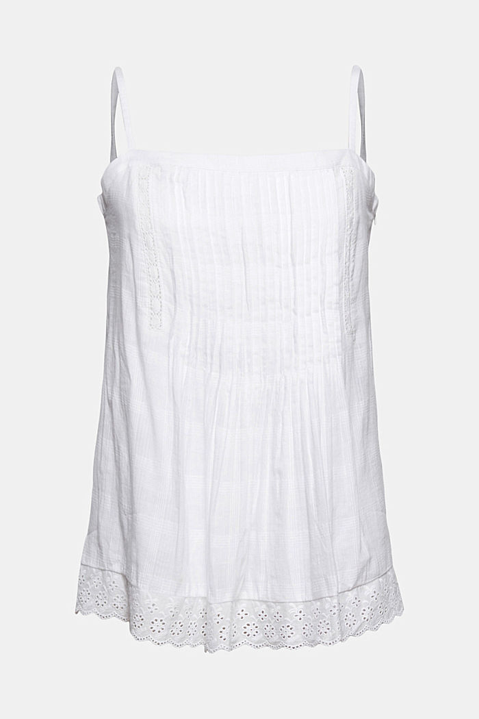 Organic cotton spaghetti top trimmed with broderie anglaise