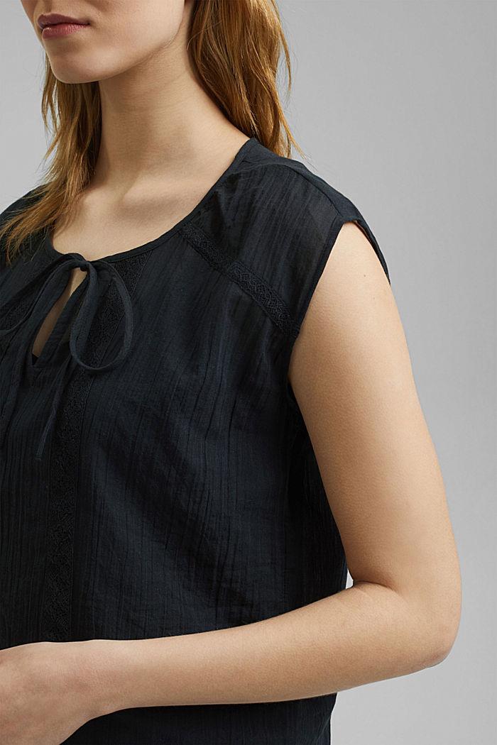 Halenkový top z krajky, z bio bavlny, BLACK, detail image number 2