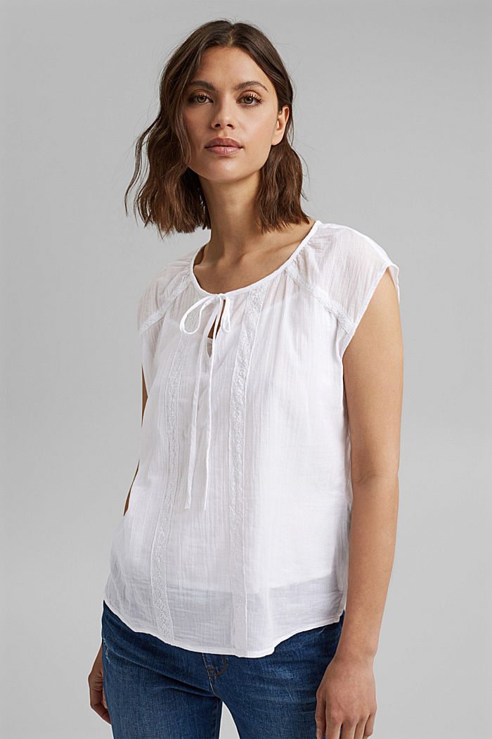 Blouse top with lace made of organic cotton, WHITE, detail image number 0