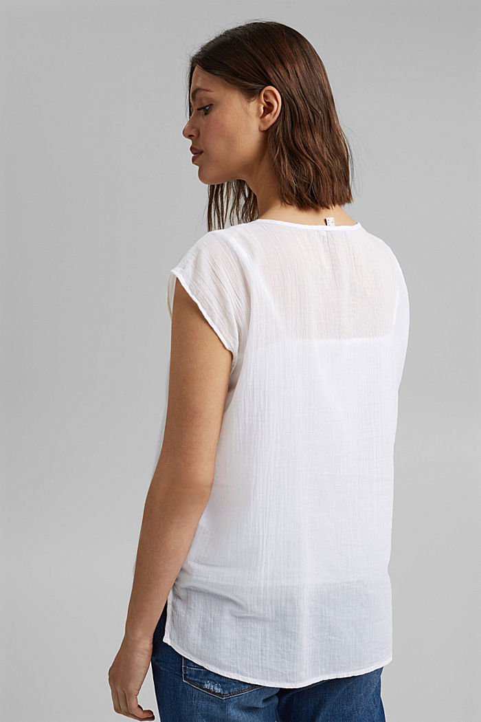 Blouse top with lace made of organic cotton, WHITE, detail image number 3