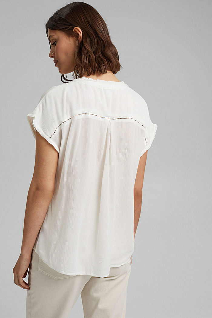 Blousetop met broderie, LENZING™ ECOVERO™, OFF WHITE, detail image number 3