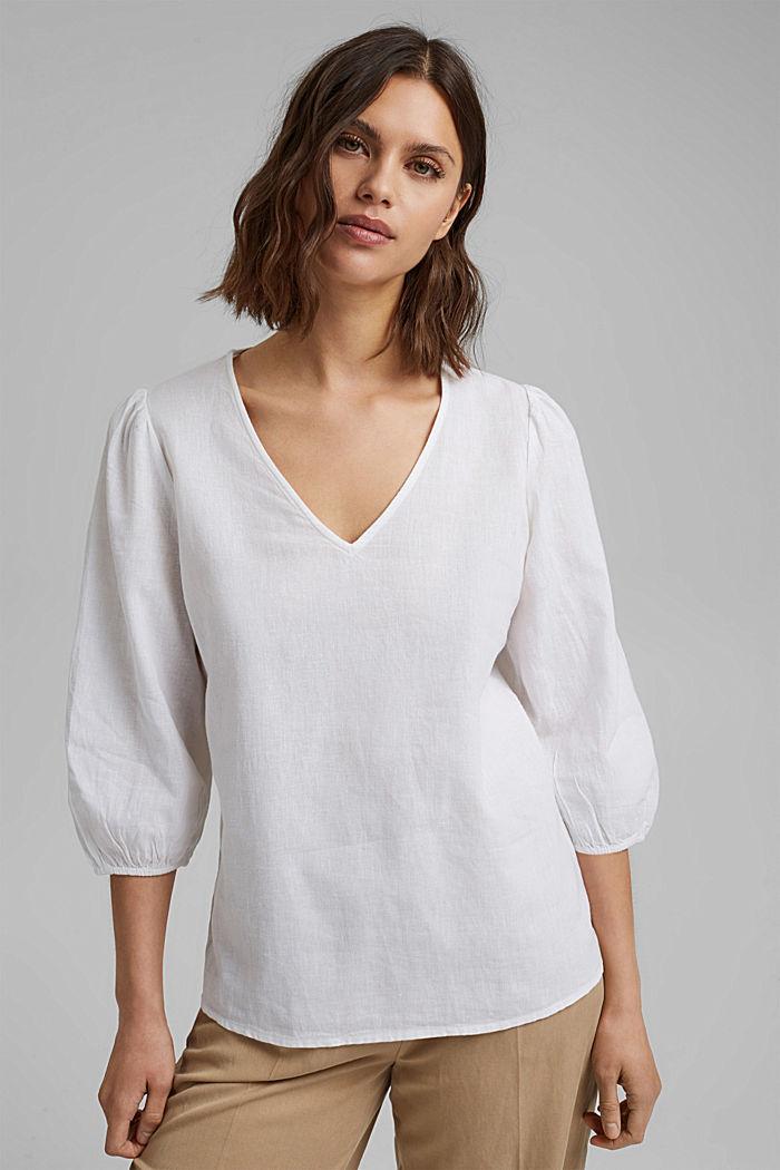 Aus Leinenmix: Puristische Bluse, WHITE, detail image number 0