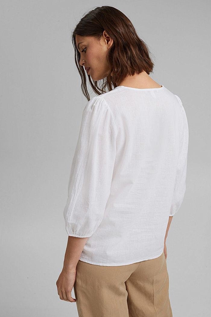 Aus Leinenmix: Puristische Bluse, WHITE, detail image number 3