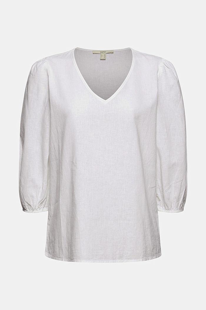 Aus Leinenmix: Puristische Bluse, WHITE, detail image number 6
