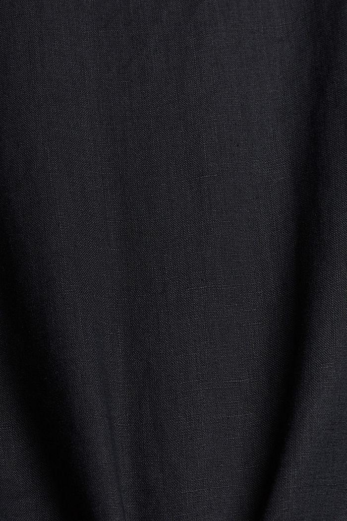 Aus Leinen: Bluse mit Knopf-Details, BLACK, detail image number 4