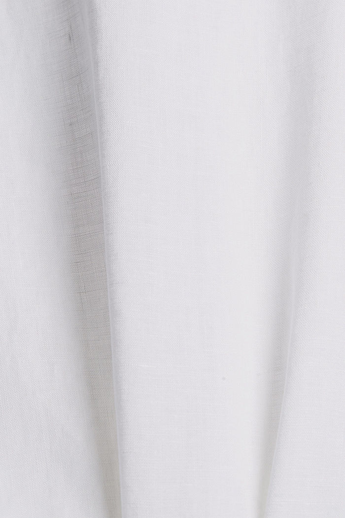 Made of linen: Button detail blouse, WHITE, detail image number 4