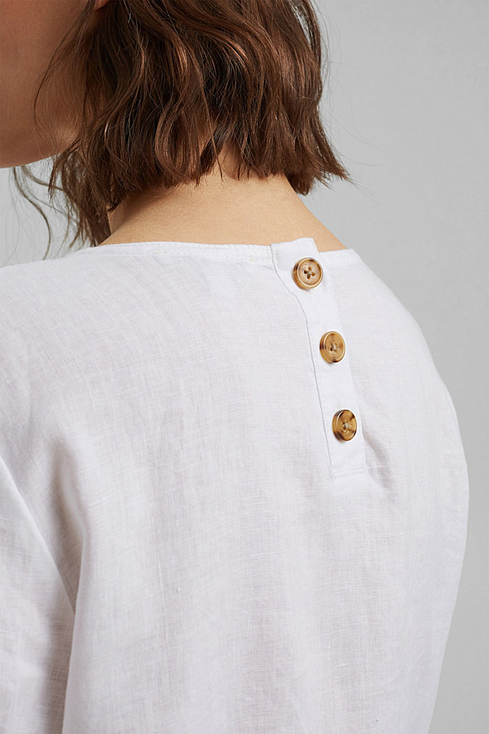 Made of linen: Button detail blouse, WHITE, detail image number 5