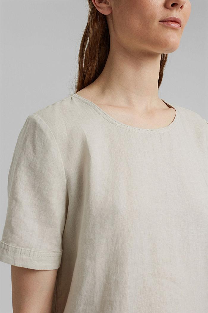 Van linnen: Blouse met knoopdetails, LIGHT BEIGE, detail image number 2