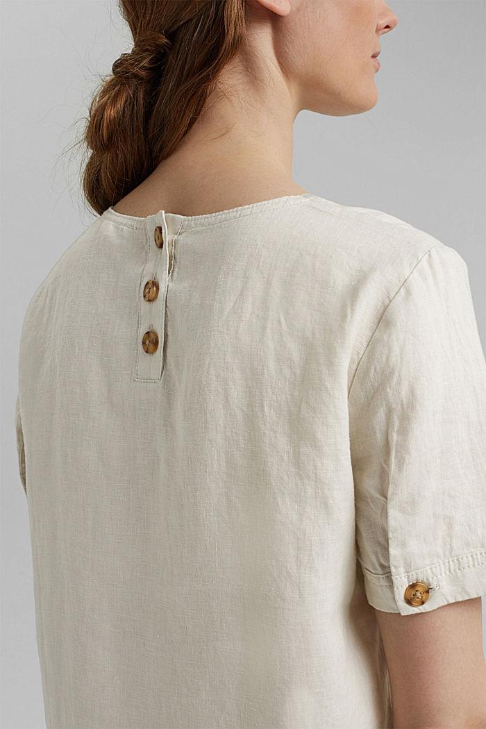 Van linnen: Blouse met knoopdetails, LIGHT BEIGE, detail image number 5