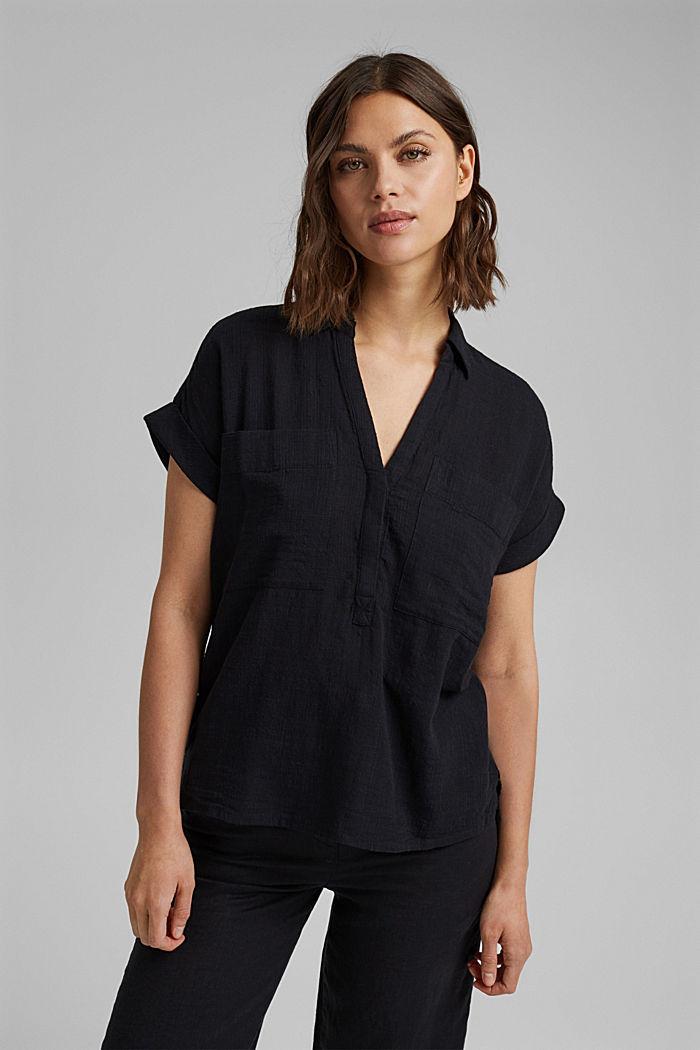 Strukturierte Bluse mit Organic Cotton, BLACK, detail image number 0