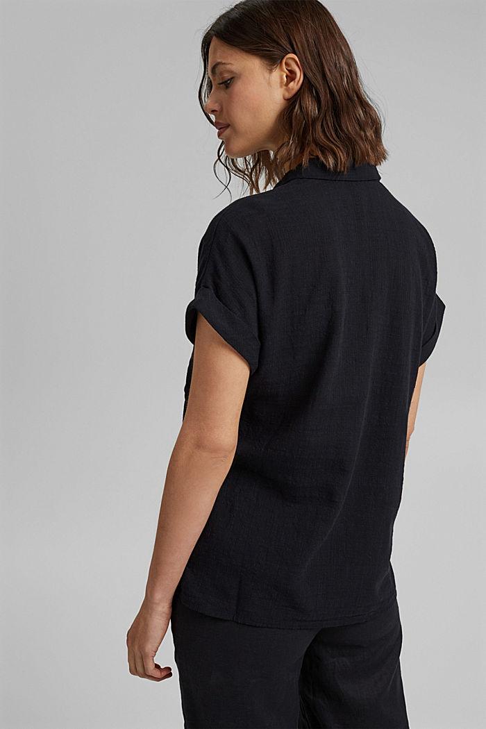 Strukturierte Bluse mit Organic Cotton, BLACK, detail image number 3