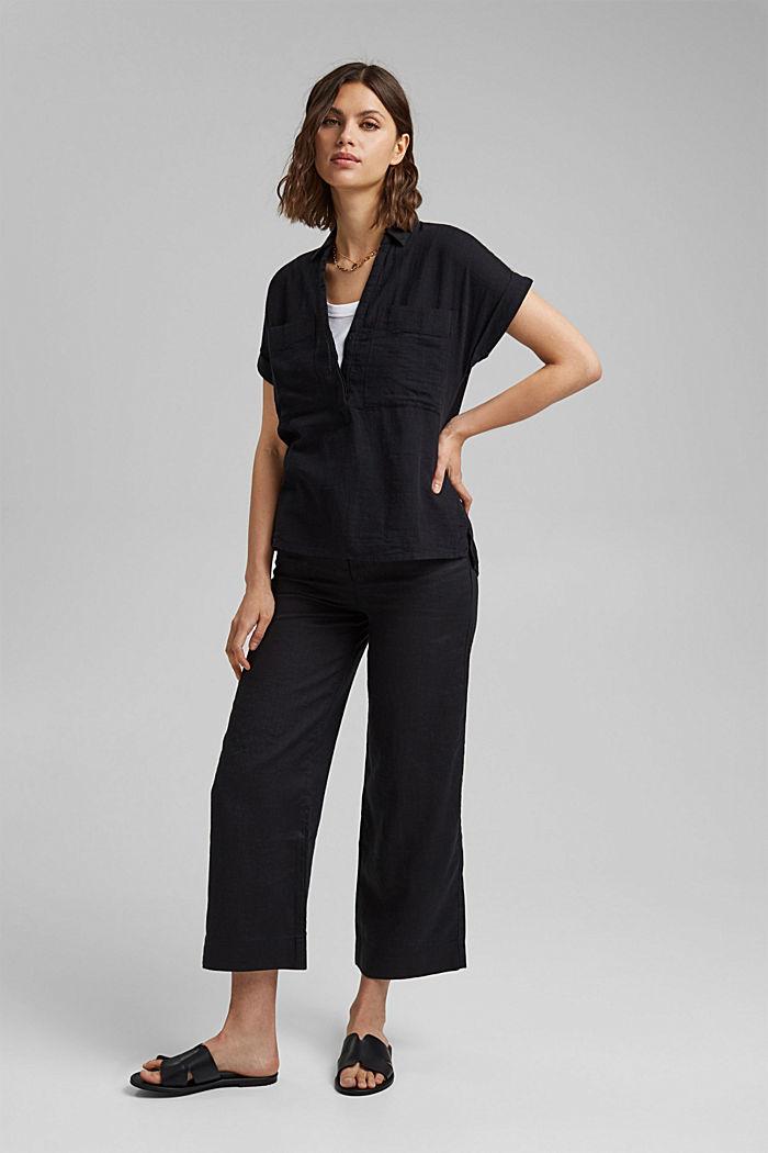 Strukturierte Bluse mit Organic Cotton, BLACK, detail image number 1