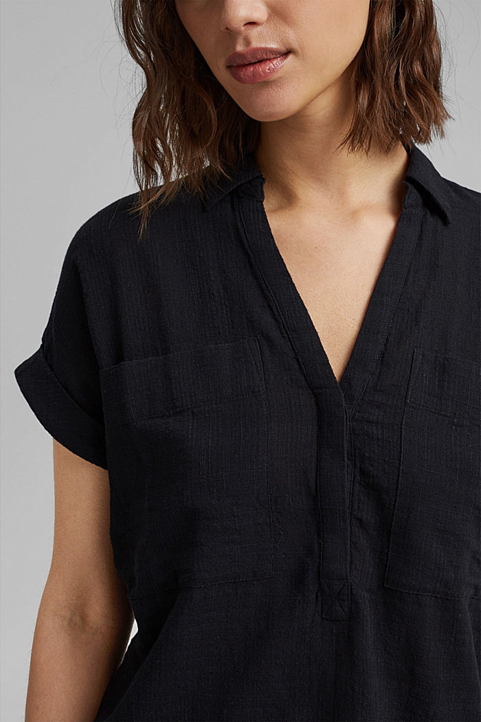 Strukturierte Bluse mit Organic Cotton, BLACK, detail image number 2