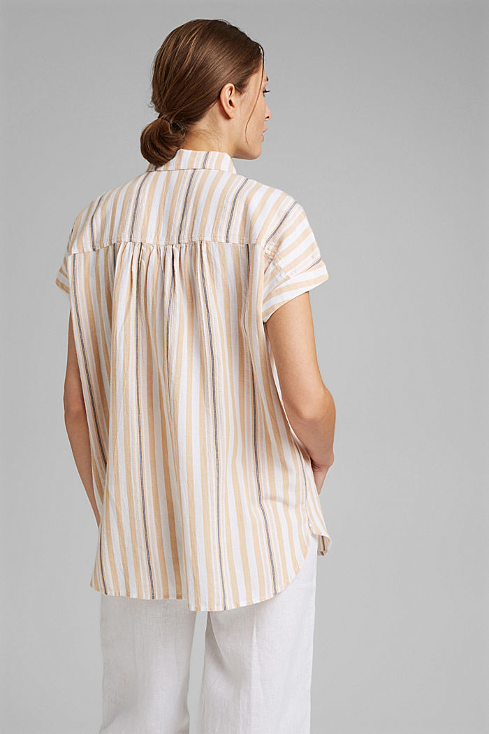 Short sleeve blouse with vertical stripes, WHITE, detail image number 3