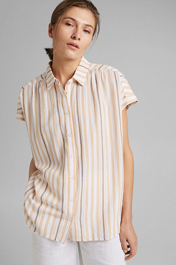 Short sleeve blouse with vertical stripes, WHITE, detail image number 5