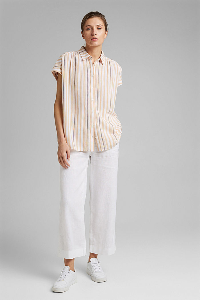 Short sleeve blouse with vertical stripes, WHITE, detail image number 1