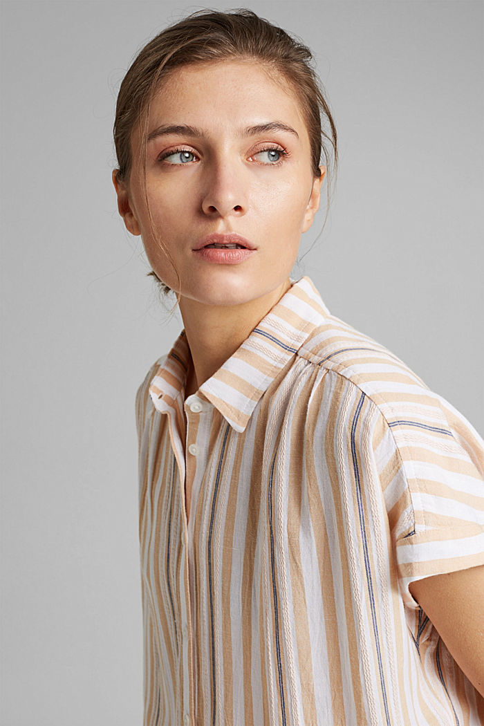 Short sleeve blouse with vertical stripes, WHITE, detail image number 6