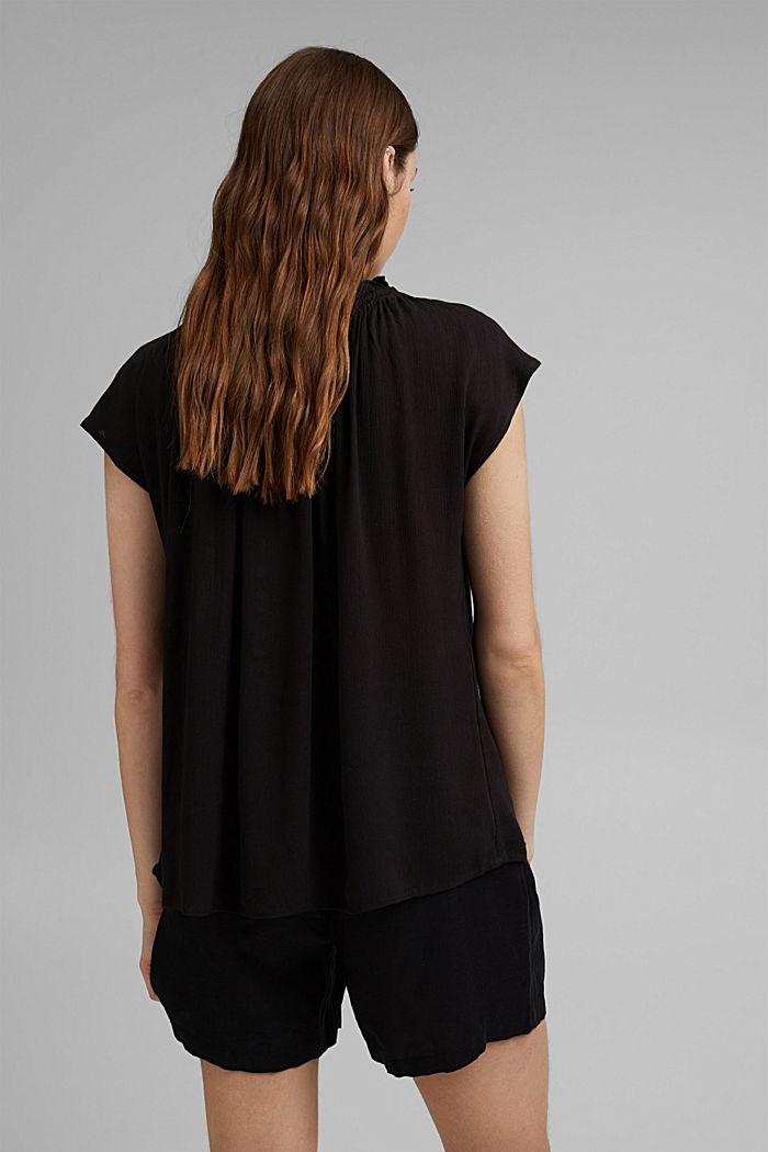 Zarte Crinkle-Bluse aus LENZING™ ECOVERO™, BLACK, detail image number 3
