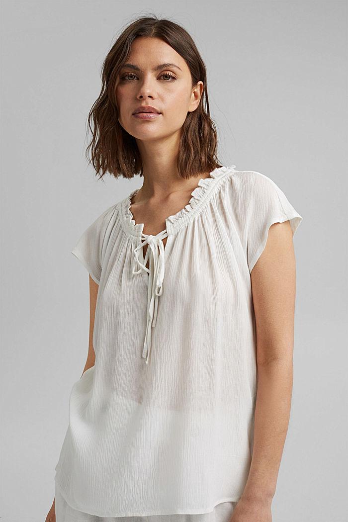 Fijne crinkle-blouse van LENZING™ ECOVERO™