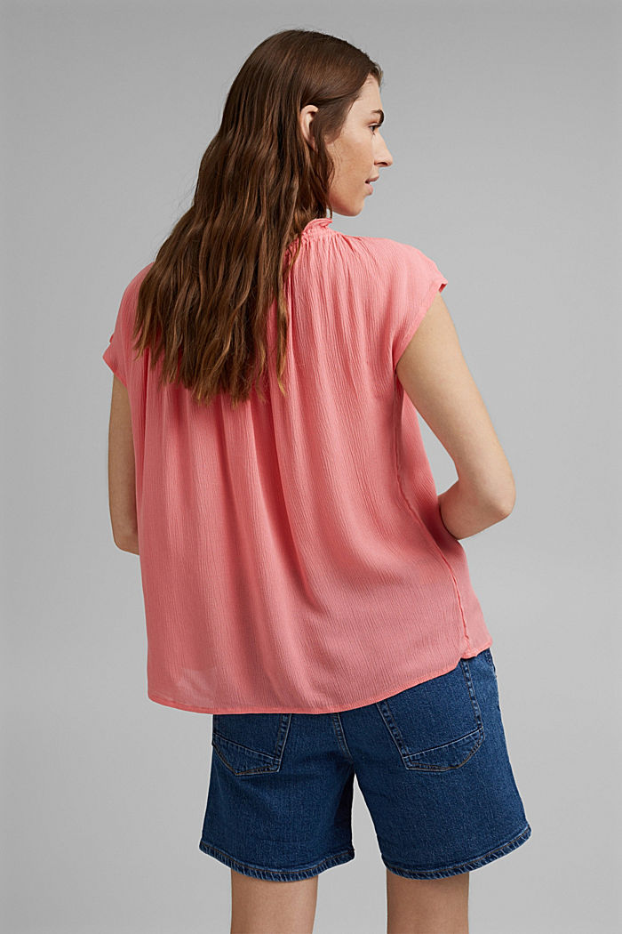 Zarte Crinkle-Bluse aus LENZING™ ECOVERO™, CORAL, detail image number 3