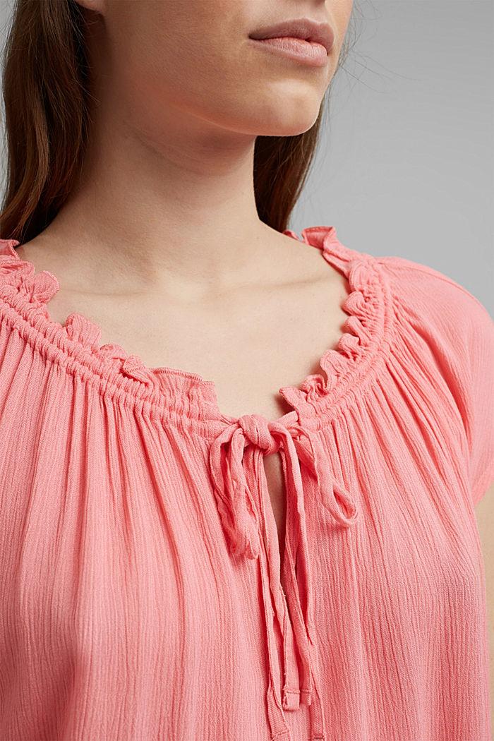 Zarte Crinkle-Bluse aus LENZING™ ECOVERO™, CORAL, detail image number 2