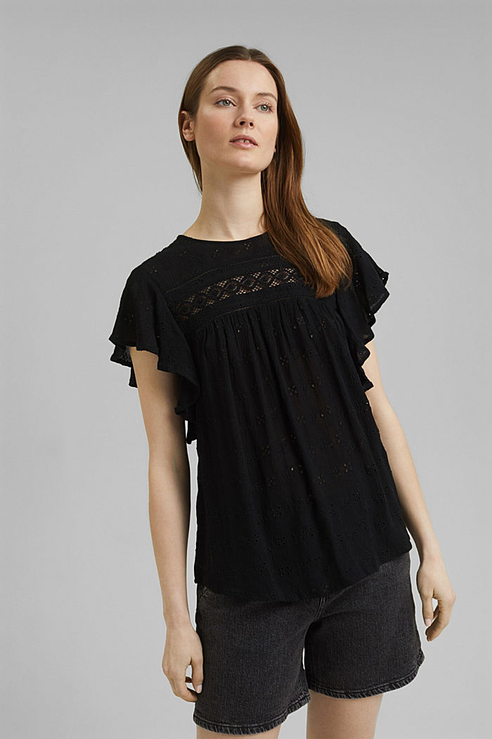 Blouse top with broderie anglaise, BLACK, detail image number 0