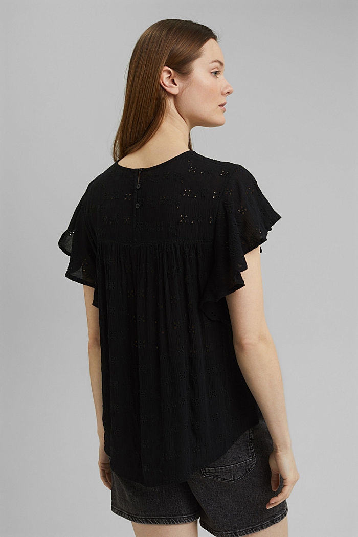 Blouse top with broderie anglaise, BLACK, detail image number 3