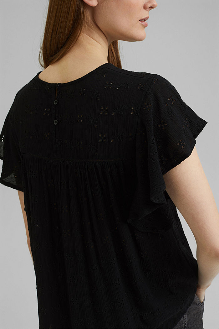 Blouse top with broderie anglaise, BLACK, detail image number 2