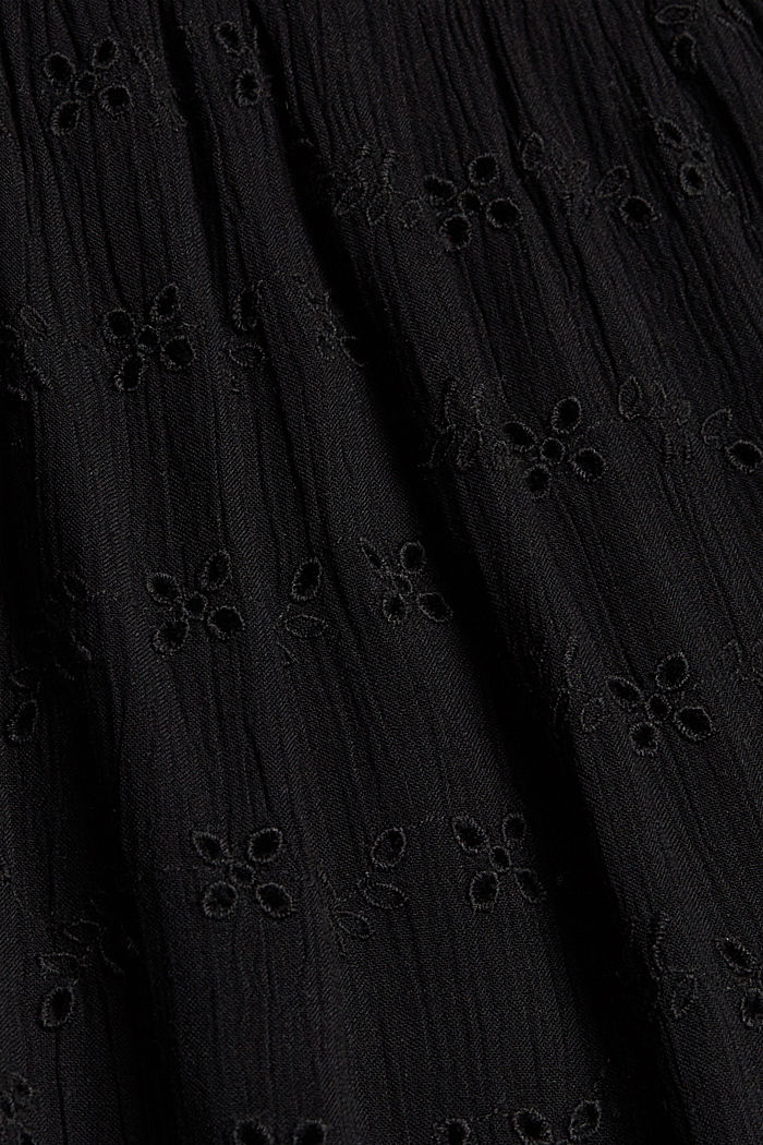 Blouse top with broderie anglaise, BLACK, detail image number 4