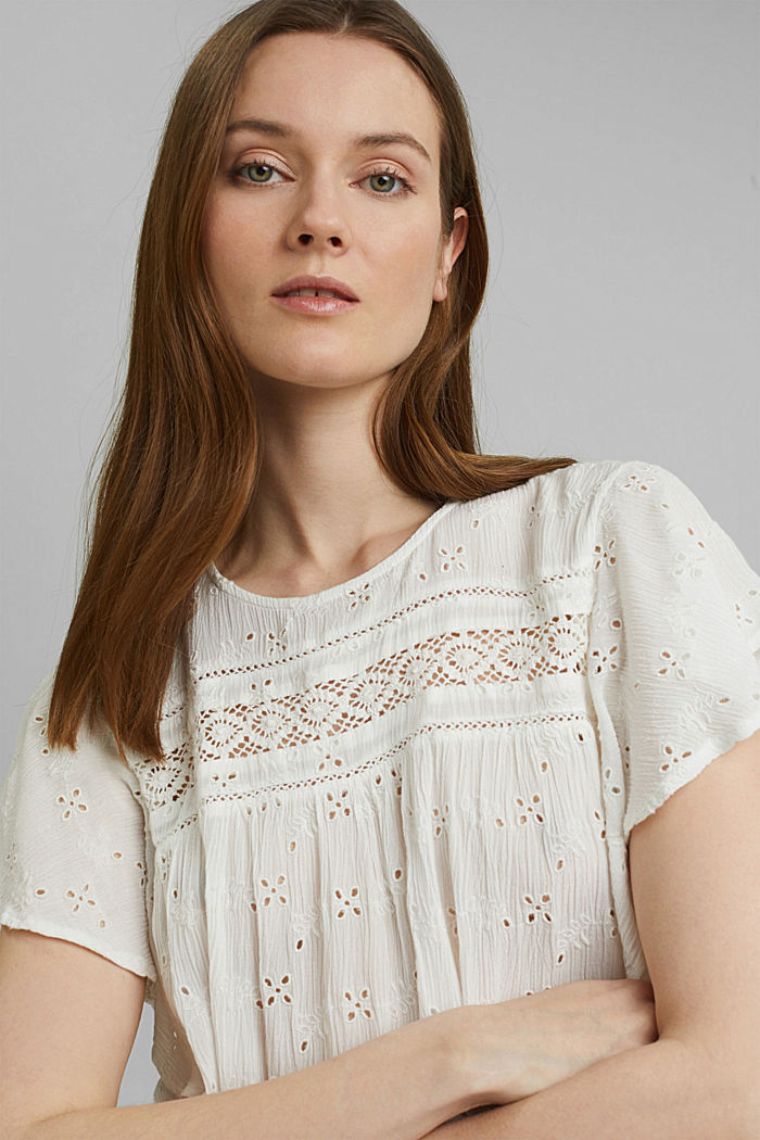 Blouse top with broderie anglaise