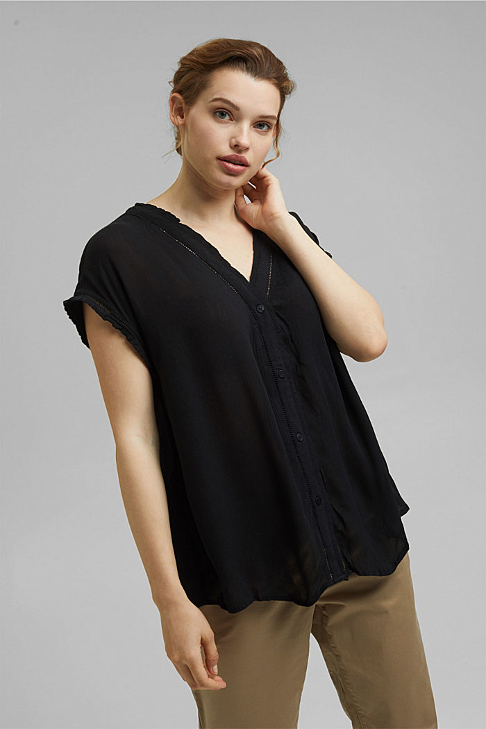 CURVY crinkle blouse made of LENZING™ ECOVERO™, BLACK, detail image number 0