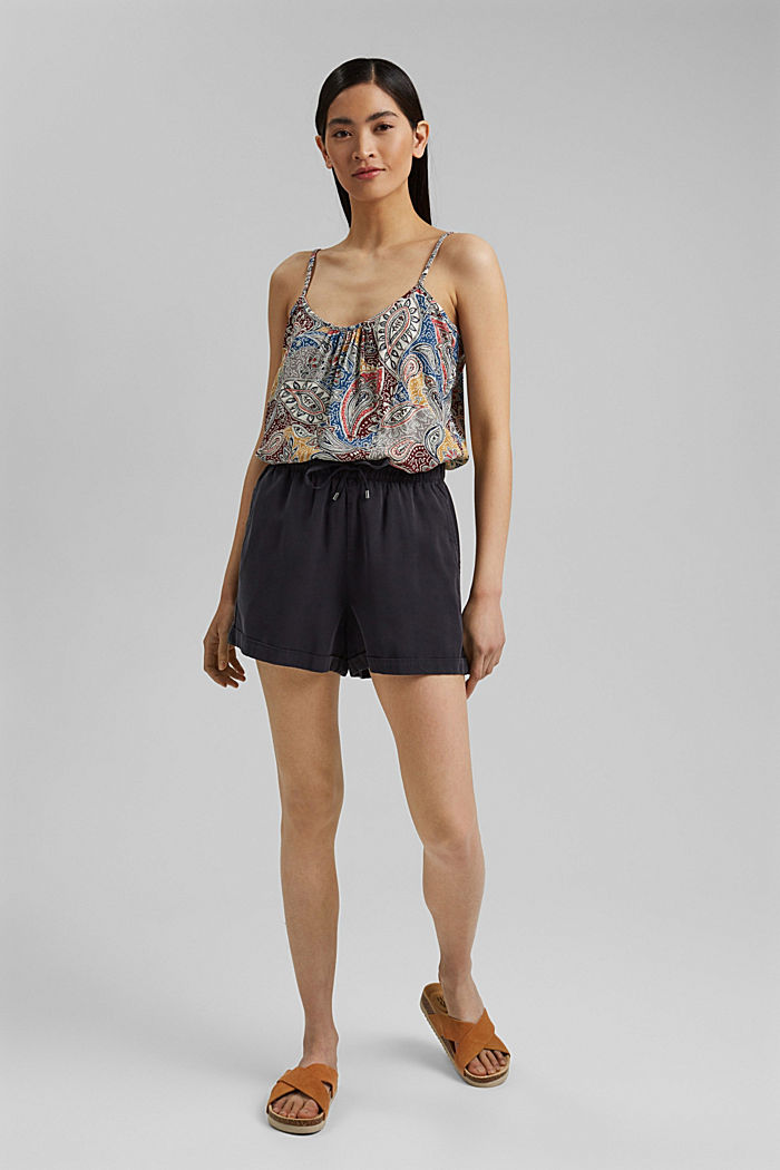 Spaghetti strap top with a paisley print, LIGHT BEIGE, detail image number 1