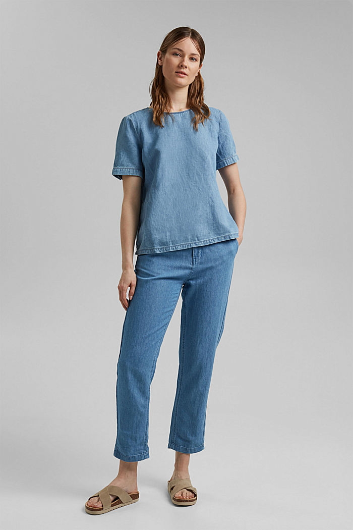 Met linnen: blousetop met denim look