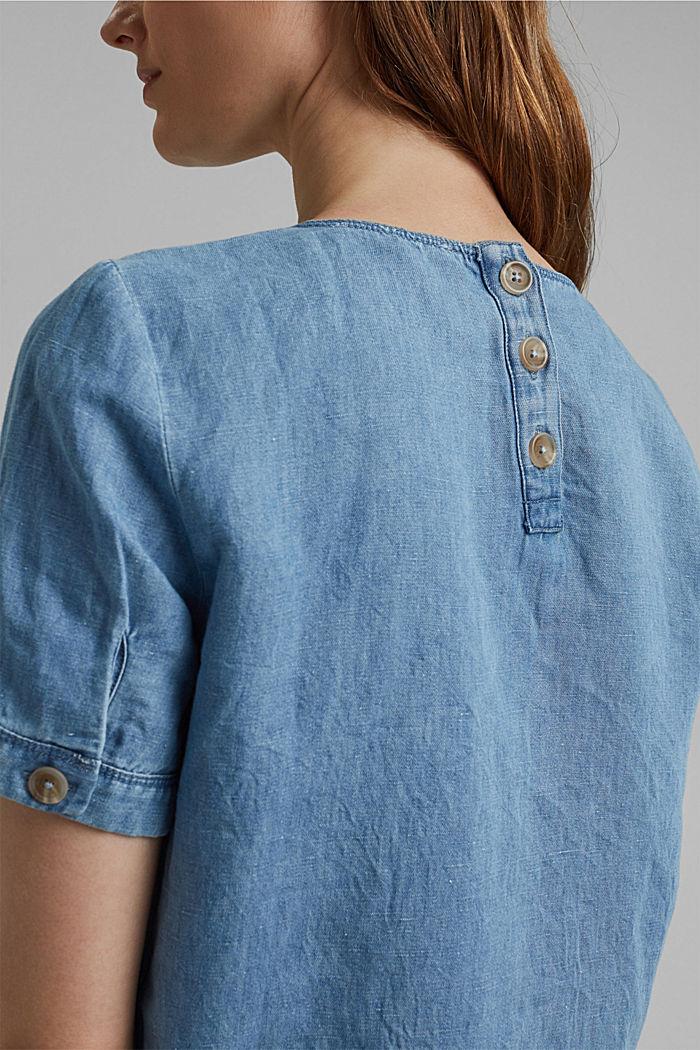 Linen blend: denim-effect blouse, BLUE LIGHT WASHED, detail image number 2