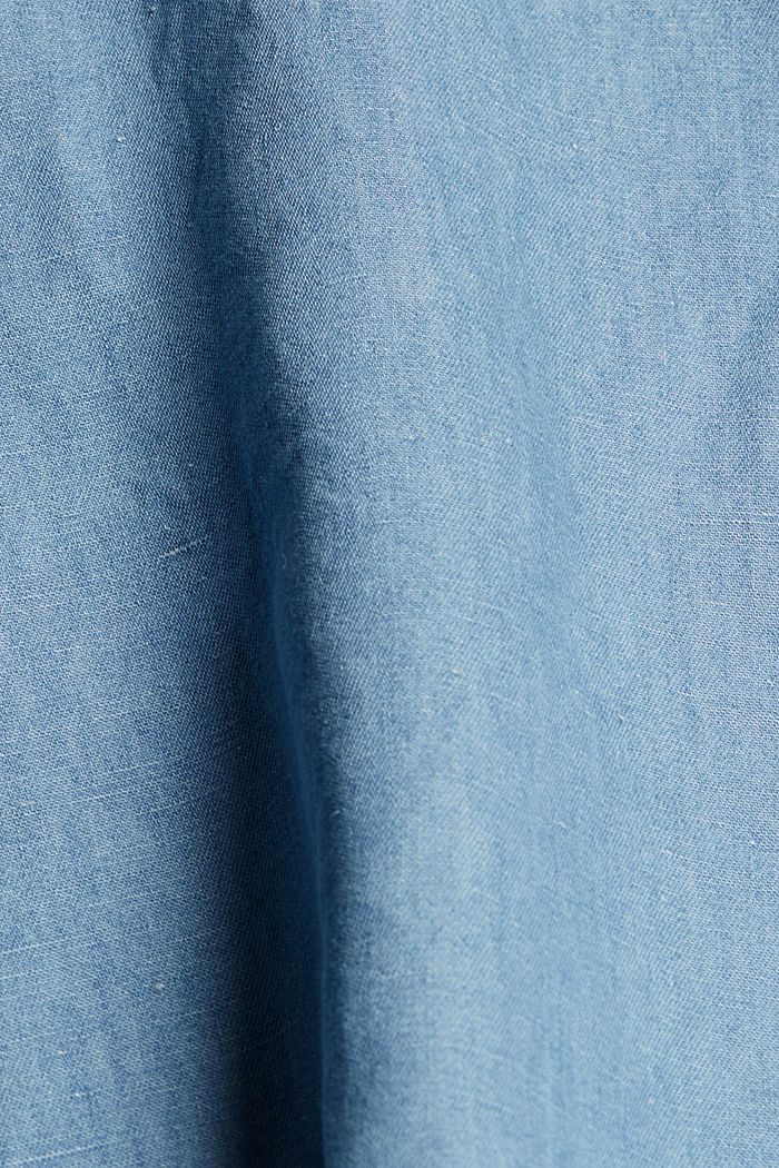 Linen blend: denim-effect blouse, BLUE LIGHT WASHED, detail image number 4