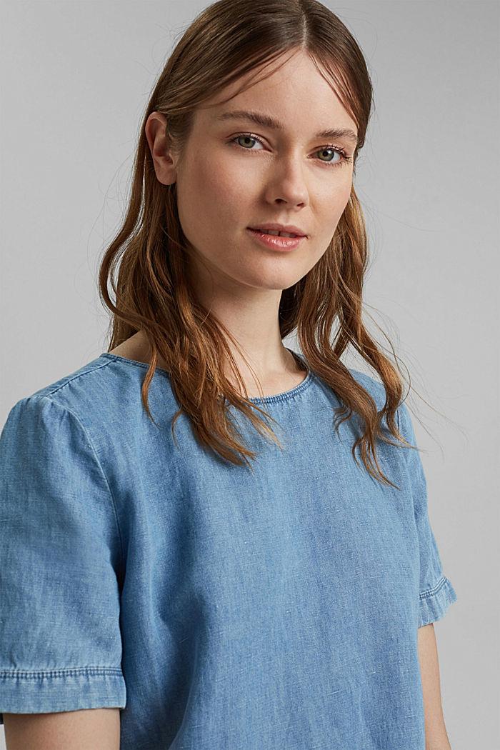 Linen blend: denim-effect blouse, BLUE LIGHT WASHED, detail image number 5