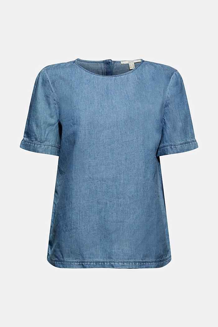 Linen blend: denim-effect blouse