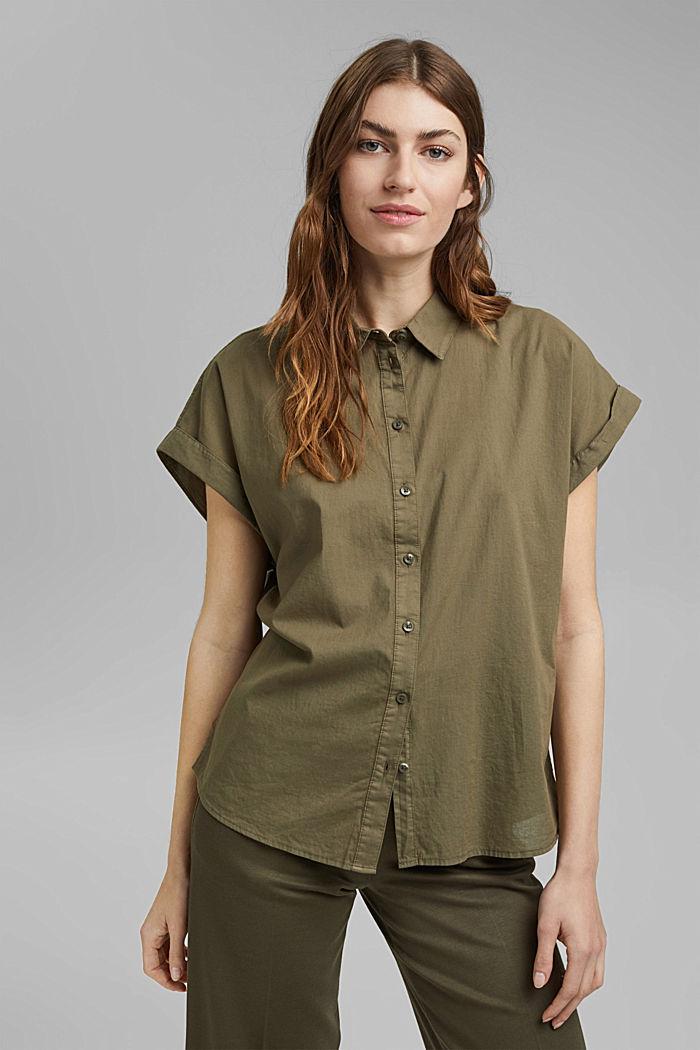 Košilová halenka barvená barvami EarthColors®, 100 % bio bavlna, OLIVE, detail image number 0
