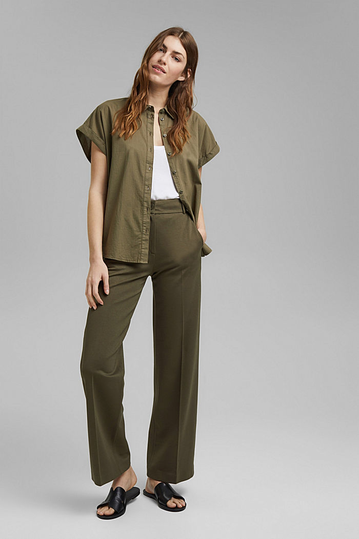 Košilová halenka barvená barvami EarthColors®, 100 % bio bavlna, OLIVE, detail image number 1