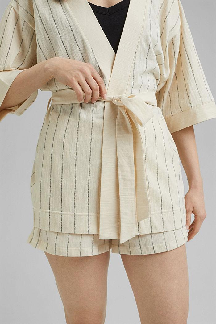 Giacca in stile kimono con cintura, OFF WHITE, detail image number 2