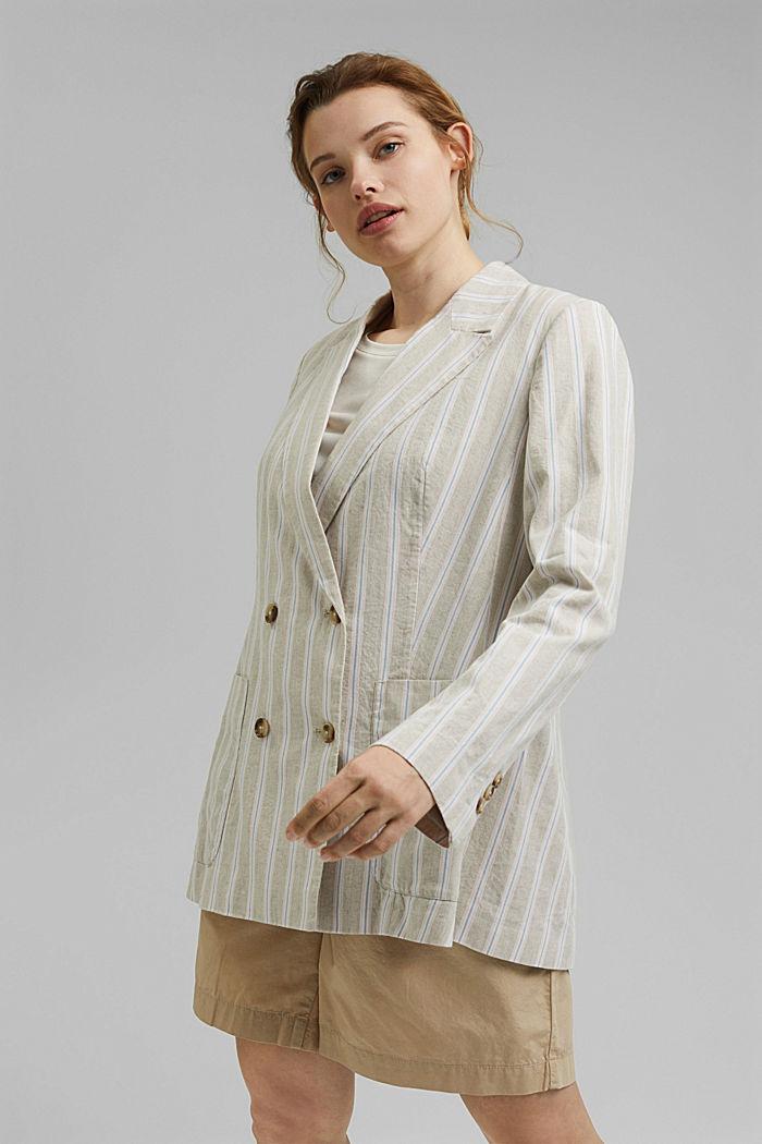CURVY striped linen blend blazer, SAND, detail image number 0