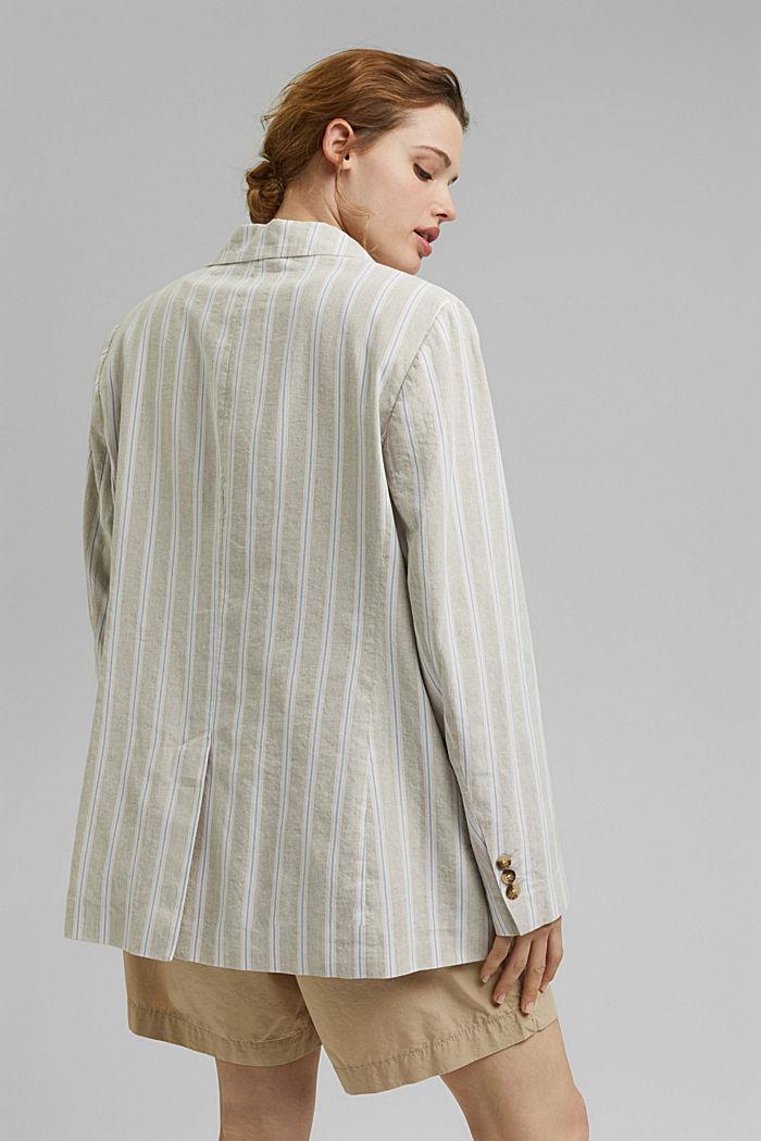 CURVY striped linen blend blazer, SAND, detail image number 3